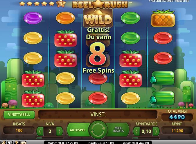 Free spins på Reel Rush