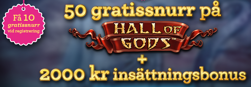 50 freespins på hall of gods