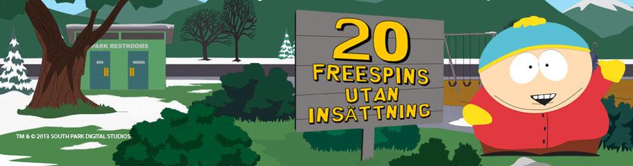 20 free spins på south park